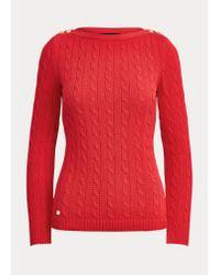 Ralph Lauren Red Baumwollpullover mit Zopfmuster