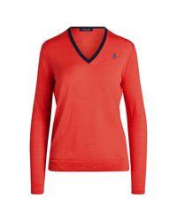 Ralph Lauren Golf Red Golf-Wollpullover mit V-Ausschnitt