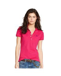 Polo Ralph Lauren | Pink Skinny Stretch Polo Shirt | Lyst