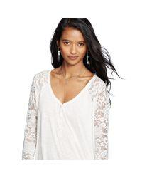 Denim & Supply Ralph Lauren - Natural Lace Raglan-sleeved Henley - Lyst