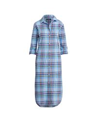 Ralph Lauren Blue Plaid Cotton-blend Nightgown