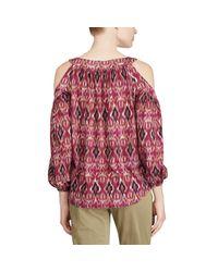Ralph Lauren Red Ikat Jersey Cold-shoulder Top