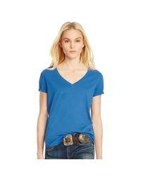 Polo Ralph Lauren | Blue Cotton Jersey V-neck Tee | Lyst