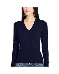 Polo Ralph Lauren Blue Cabled Cashmere V-neck Sweater