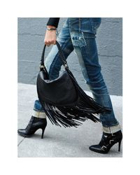 Polo Ralph Lauren | Black Fringed Leather Saddle Bag | Lyst