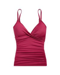 Ralph Lauren Red Slimming Ruched Tankini Top