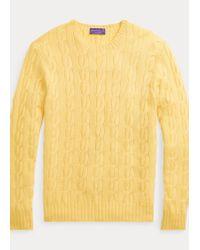 Jersey De Punto Trenzadoo De Cachemira Ralph Lauren Purple Label de hombre de color Yellow