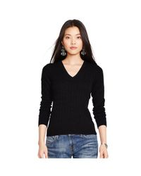 Polo Ralph Lauren | Black Cable Cashmere V-neck Sweater | Lyst