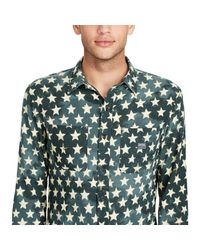 Denim & Supply Ralph Lauren Green Star-print Cotton Workshirt for men