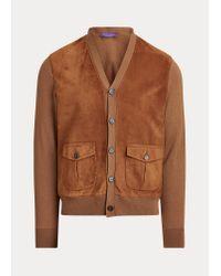Cardigan en cachemire avec pans en daim Ralph Lauren Purple Label pour homme en coloris Brown