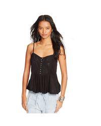 Denim & Supply Ralph Lauren | Black Lace-trim Jersey Camisole | Lyst