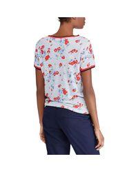 Ralph Lauren Blue Floral Linen-blend T-shirt