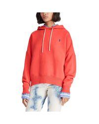 Sweat à capuche à cordon de serrage Polo Ralph Lauren en coloris Red