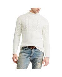 Polo Ralph Lauren White Aran-knitted Cotton Jumper for men