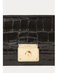 Portafoglio compatto in pelle di Ralph Lauren in Black