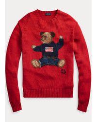 Pull Polo Bear en coton et lin Polo Ralph Lauren en coloris Red