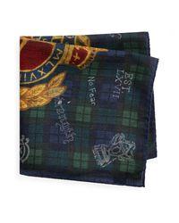 Polo Ralph Lauren Tartan-Einstecktuch mit Wappen in Blue für Herren