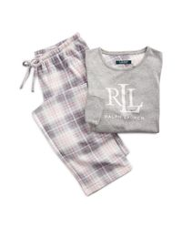 Ralph Lauren Gray Karierter Fleece-Pyjama