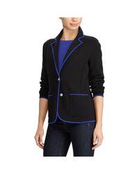Ralph Lauren Black Velvet-trim Cotton Blazer