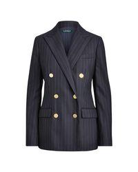 Ralph Lauren Blue Pinstripe Wool-blend Blazer In Navy Multi - Size 8
