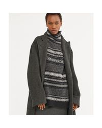 Ralph Lauren Black Bradford Herringbone Wool Coat