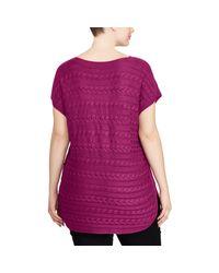 Ralph Lauren - Purple Cable-knit Boatneck Sweater - Lyst