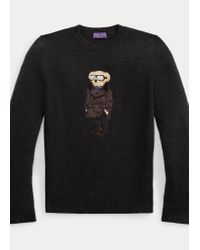 Maglia in cashmere Polo Bear di Ralph Lauren Purple Label in Black da Uomo