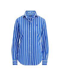 Ralph Lauren Blue Gestreiftes Baumwollhemd