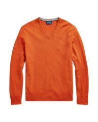Polo Ralph Lauren Merinopullover mit V-Ausschnitt in Orange für Herren