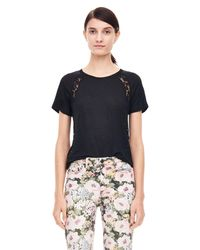 Rebecca Taylor Black Linen And Lace Tee