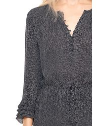 Rebecca Taylor - Black Pebble Print Silk Georgette Shirtdress - Lyst
