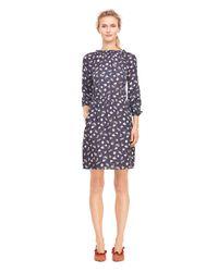 Rebecca Taylor Blue Holly Flower Print Silk Dress