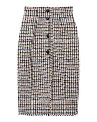 Rebecca Taylor Multicolor Houndstooth Tweed Skirt