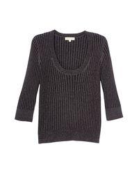Rebecca Taylor Black Lurex Rib Scoop Neck Pullover