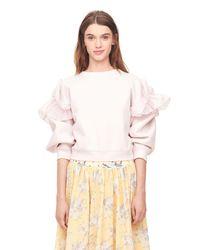 Rebecca Taylor - Pink Ruffled Terry & Organdy Sweatshirt - Lyst