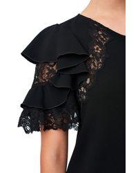 Rebecca Taylor Black Crepe & Lace Dress