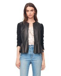 Rebecca Taylor Black Leather & Boucle Knit Jacket