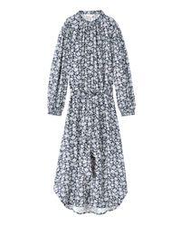 Rebecca Taylor - Black Capucine Floral Hammered Silk Shirtdress - Lyst