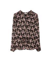Rebecca Taylor Black Shadow Floral Top