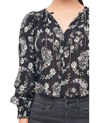 Rebecca Taylor Black Jewel Paisley Stripe Silk Top
