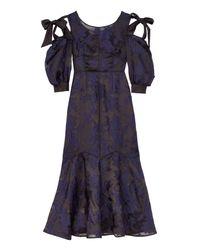 Rebecca Taylor - Blue Floral Organza Bow Dress - Lyst