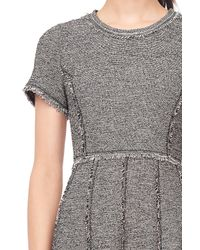 Rebecca Taylor Gray Stretch Tweed Embellished Dress