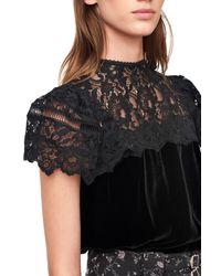 Rebecca Taylor Black Velvet & Lace Top