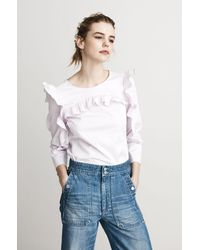 Rebecca Taylor - Pink Cotton Ruffle Top - Lyst