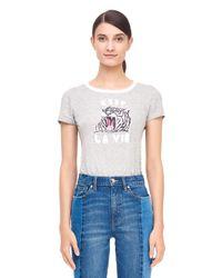 Rebecca Taylor - Gray La Vie Tiger Print Logo Tee - Lyst