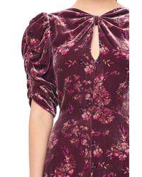 Rebecca Taylor Purple Jewel Paisley Velvet Midi Dress