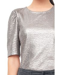 Rebecca Taylor Gray Textured Metallic Top