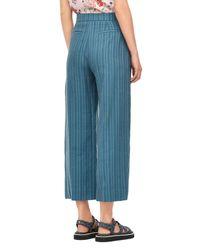 Rebecca Taylor - Blue Textured Stripe Wide Leg Crop Pant - Lyst