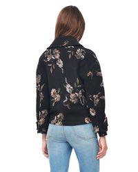 Rebecca Taylor Black Floral Jacquard Car Coat