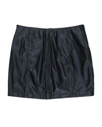 Re/done - Black Reconstructed Leather Mini Skirt - Lyst
